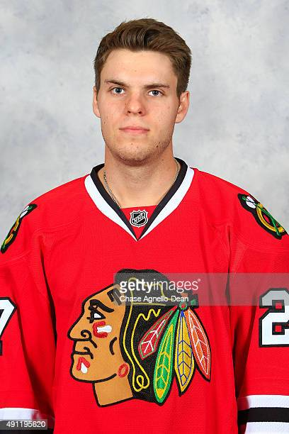 Jeremy Morin of the Chicago Blackhawks poses for his official headshot for the 20152016 season on September 16 2015 at the United Center in Chicago...