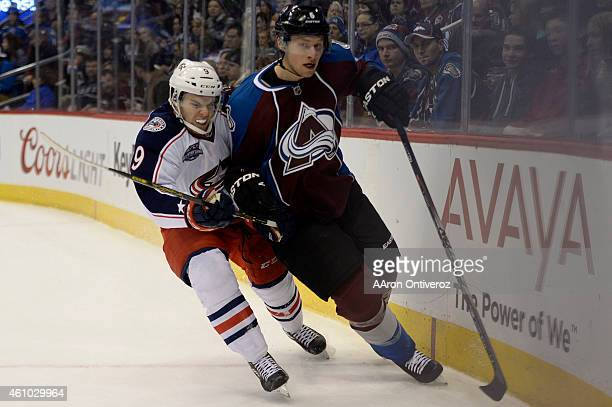 Jeremy Morin of the Columbus Blue Jackets checks Erik Johnson of the Colorado Avalanche during the second half of the Nuggets' 11483 win The Colorado...