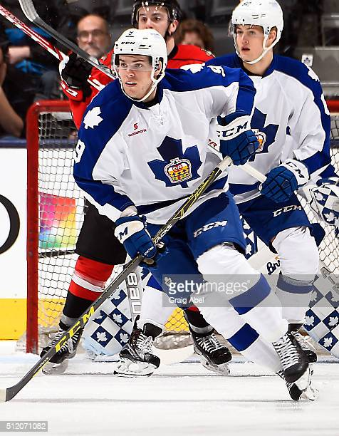 Jeremy Morin of the Toronto Marlies turns up ice against the Portland Pirates during AHL game action on February 20 2016 at Air Canada Centre in...