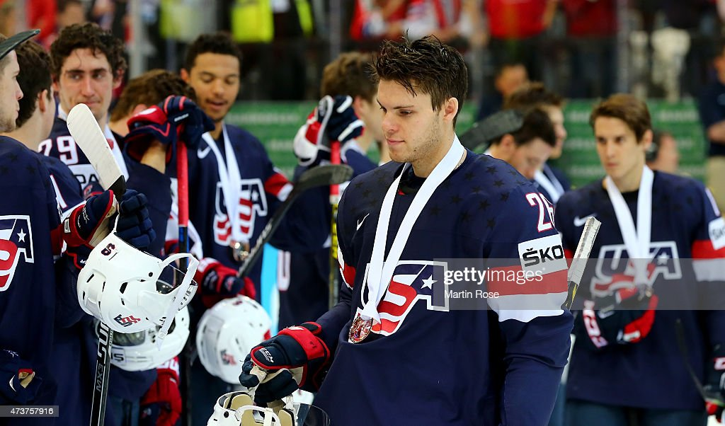 Jeremy Morin #26 of USA celebrate victory after the IIHF World Championship bronze medal match between Crech Republic and USA at O2 Arena on May 17, 2015 in Prague, Czech Republic.