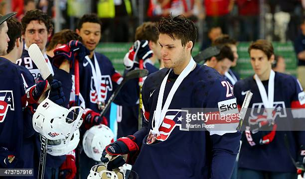 Jeremy Morin of USA celebrate victory after the IIHF World Championship bronze medal match between Crech Republic and USA at O2 Arena on May 17 2015...