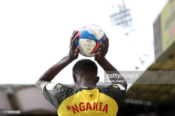 Jeremy Ngakia of Watford throws in the ball during the Sky Bet Championship match between Watford and Luton Town at Vicarage Road on September 26...