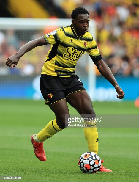 Jeremy Nkagia of Watford runs with the ball during the Premier League match between Watford and Wolverhampton Wanderers at Vicarage Road on September...