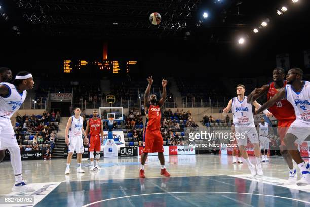 Jeremy Nzeulie of Chalon during the French Pro A match between Antibes and Chalon sur Saone on March 31 2017 in Antibes France