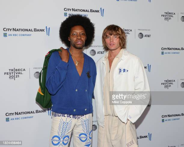 """Jeremy O. Harris and Jordan Barrett attend the """"Untitled: Dave Chappelle Documentary"""" Premiere during the 2021 Tribeca Festival at Radio City Music..."""