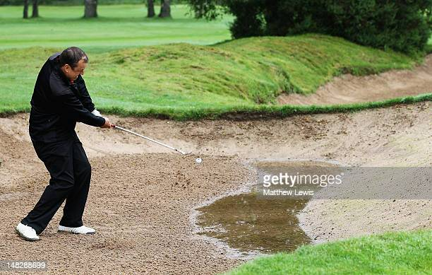 Jeremy O'Keefe of Worcester Golf and Country Club plays out of the bunker on the 4th hole during the Virgin Atlantic PGA National ProAm Championship...
