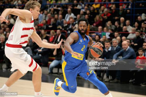 Jeremy Pargo #2 of Maccabi Fox Tel Aviv in action during the 2018/2019 Turkish Airlines EuroLeague Regular Season Round 23 game between AX Armani...