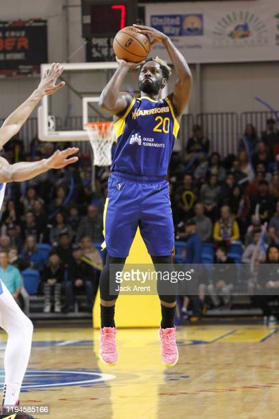 Jeremy Pargo 20# of the Santa Cruz Warriors shoots the ball against the Oklahoma City Blue during the match on January 18 2020 at Kaiser Permanente...