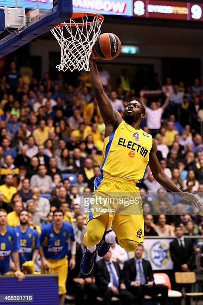 Jeremy Pargo #4 of Maccabi Electra Tel Aviv in action during the Turkish Airlines Euroleague Basketball Top 16 Date 13 game between Maccabi Electra...