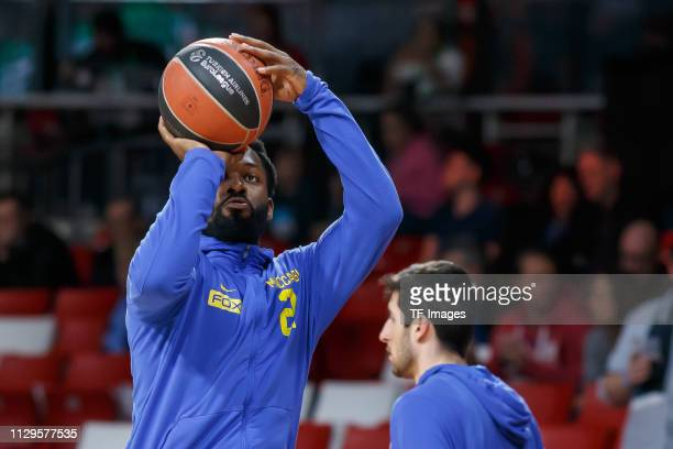 Jeremy Pargo of Maccabi Fox Tel Aviv controls the ball prior to the Turkish Airlines EuroLeague match between FC Bayern Munich and Maccabi Fox Tel...
