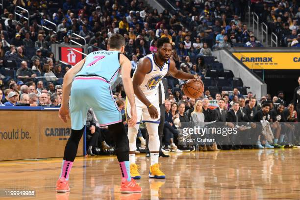 Jeremy Pargo of the Golden State Warriors handles the ball against the Miami Heat on February 10 2020 at Chase Center in San Francisco California...