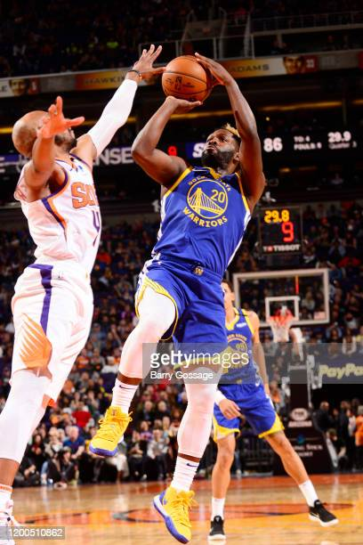 Jeremy Pargo of the Golden State Warriors shoots the ball against the Phoenix Suns on February 12 2020 at Talking Stick Resort Arena in Phoenix...