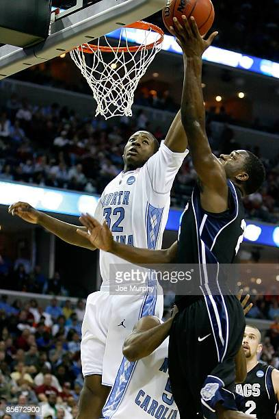 Jeremy Pargo of the Gonzaga Bulldogs goes up for a shot in the lane against Ed Davis of the North Carolina Tar Heels in the second half during the...