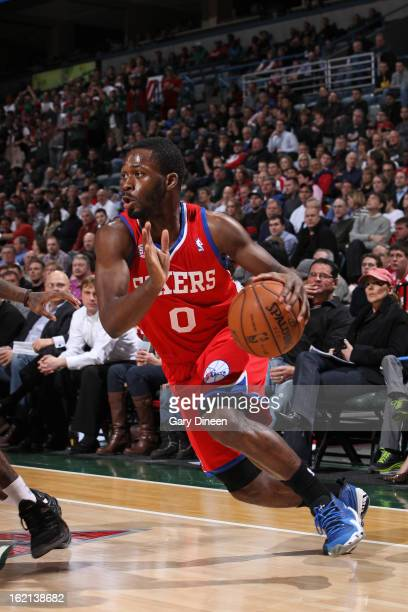 Jeremy Pargo of the Philadelphia 76ers handles the ball against the Milwaukee Bucks on February 13 2013 at the BMO Harris Bradley Center in Milwaukee...