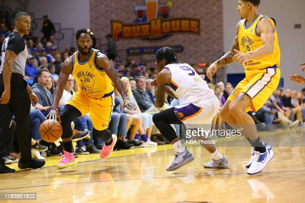 Jeremy Pargo of the Santa Cruz Warriors drives against Ahmed Hill of the Northern Arizona Suns on November 21 2019 at the Kaiser Permanente Arena in...