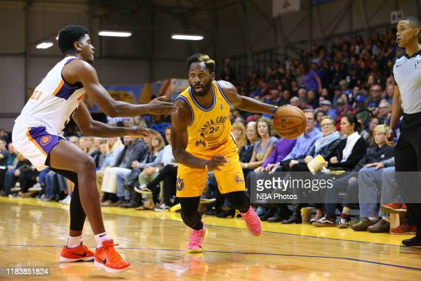 Jeremy Pargo of the Santa Cruz Warriors drives against Anthony Lawrence of the Northern Arizona Suns on November 21 2019 at the Kaiser Permanente...