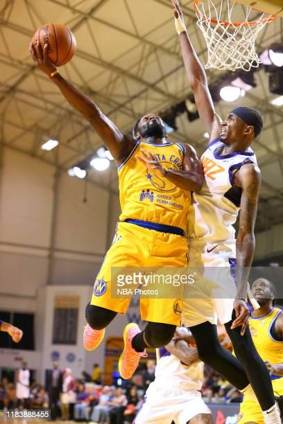 Jeremy Pargo of the Santa Cruz Warriors drives to the basket against Shawndre Jones of the Northern Arizona Suns on November 21 2019 at the Kaiser...