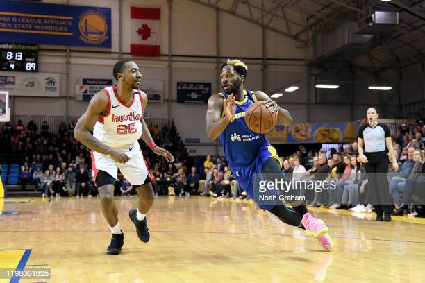 Jeremy Pargo of the Santa Cruz Warriors drives to the hoop against the Memphis Hustle during an NBA GLeague game on February 1 2020 at the Kaiser...