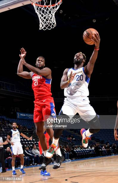 Jeremy Pargo of the Santa Cruz Warriors goes to the basket against Tyler Roberson of the Agua Caliente Clippers of Ontario on December 17 2019 at...
