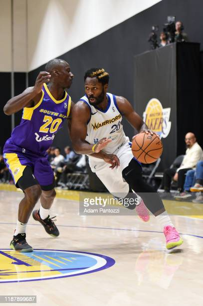 Jeremy Pargo of the Santa Cruz Warriors handles the basketball against Andre Ingram of the South Bay Lakers on December 10 2019 at UCLA Heath...