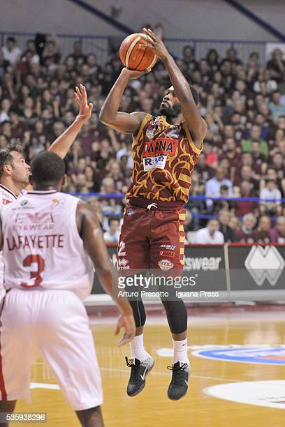 Jeremy Pargo of Umana competes with Bruno Cerella of EA7 duriing the LegaBsaket Serie A match between Reyer Umana Venezia and EA7 Emporio Armani...