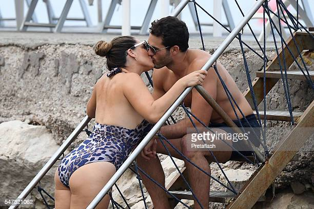 Jeremy Parisi and Kelly Brook are seen on July 14, 2016 in Ischia, Italy.