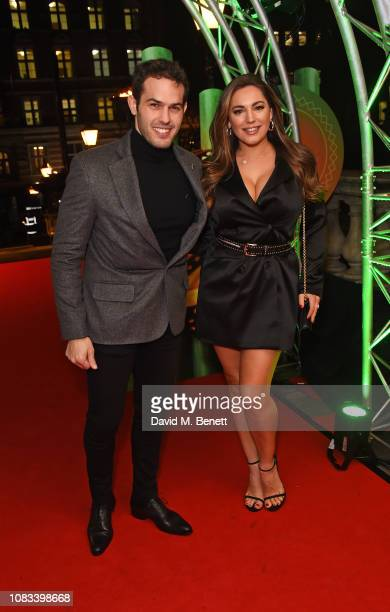 """Jeremy Parisi and Kelly Brook attend the Cirque du Soleil Premiere Of """"TOTEM"""" at Royal Albert Hall on January 16, 2019 in London, England."""
