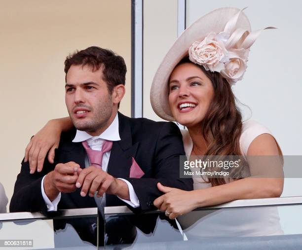 Jeremy Parisi and Kelly Brook watch the racing as they attend day 5 of Royal Ascot at Ascot Racecourse on June 24 2017 in Ascot England