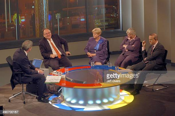 Jeremy Paxman interviews Lord Falconer Ann Widdecombe Shirley Williams and Ian Hislop on election night in the BBC Election 2005 studio