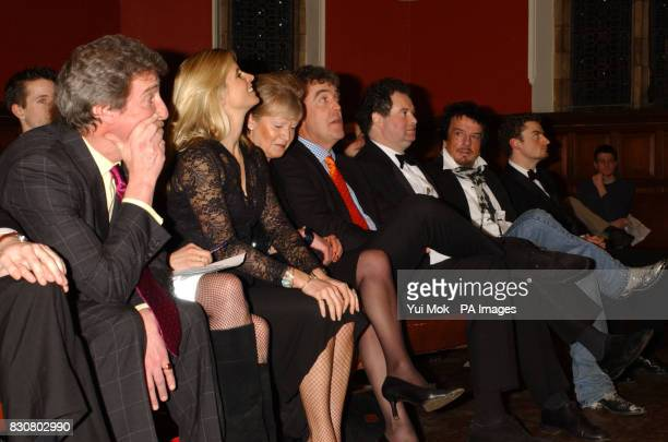 Jeremy Paxman Kate Kray Jeremy Clarkson and Nicky Haslam the Oxford Union Oxford University prior to the debate 'This house believes that the class...