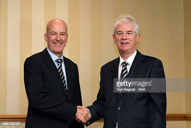 Jeremy Peace the outgoing owner and chairman of West Bromwich Albion greets incoming chairman John Williams after Jeremy Peace agreed to sell his 88%...