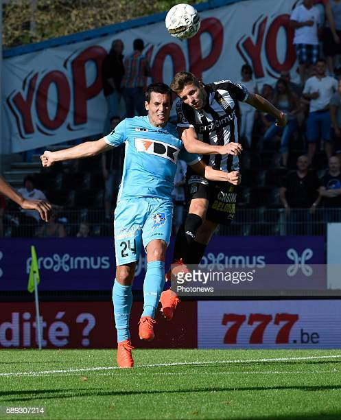 Jeremy Perbet forward of KAA Gent and Willems Steeven midfielder of Charleroi pictured during Jupiler Pro League match between RCS Charleroi and KAA...