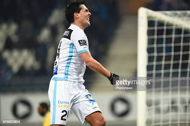 Jeremy Perbet forward of KAA Gent celebrates after scoring the 10 during the Croky Cup match between KAA Gent and KSC LOKEREN in the Ghelamco Arena...
