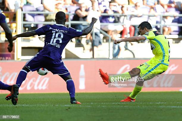 Jeremy Perbet forward of KAA Gent pictured during Jupiler Pro League match between RSC Anderlecht and KAA Gent on August 28, 2016 in Brussels, Belgium