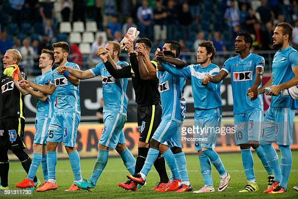 Jeremy Perbet forward of KAA Gent scores and celebrates during the Jupiler Pro League match between KAA Gent and KRC Genk at the Ghelamco Arena on in...