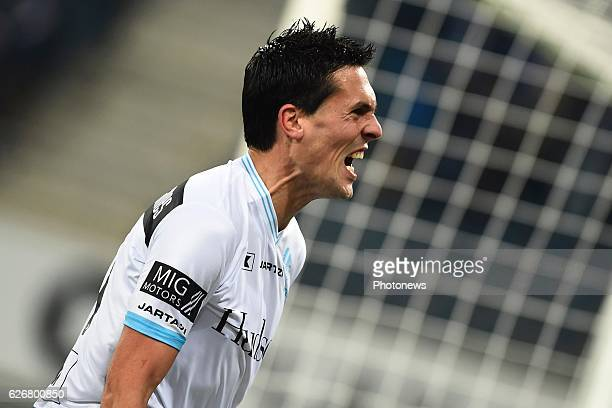 Jeremy Perbet forward of KAA Gent screams it out after scoring the 10 during the Croky Cup match between KAA Gent and KSC LOKEREN in the Ghelamco...