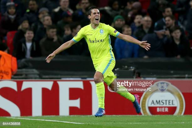 Jeremy Perbet of Gent celebrates as he scores their second goal during the UEFA Europa League Round of 32 second leg match between Tottenham Hotspur...