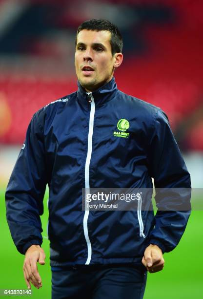 Jeremy Perbet of Gent looks on during a Gent training session at Wembley Stadium on February 22 2017 in London England