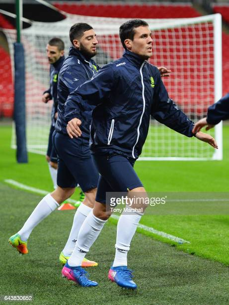 Jeremy Perbet of Gent warms up during a Gent training session at Wembley Stadium on February 22 2017 in London England