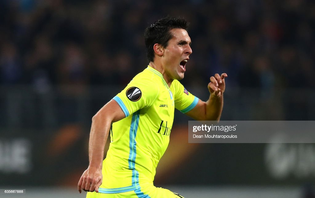 Jeremy Perbet of KAA Gent celebrates after scoring his sides first goal during the UEFA Europa League Round of 32 first leg match between KAA Gent and Tottenham Hotspur at Ghelamco Arena on February 16, 2017 in Gent, Belgium.
