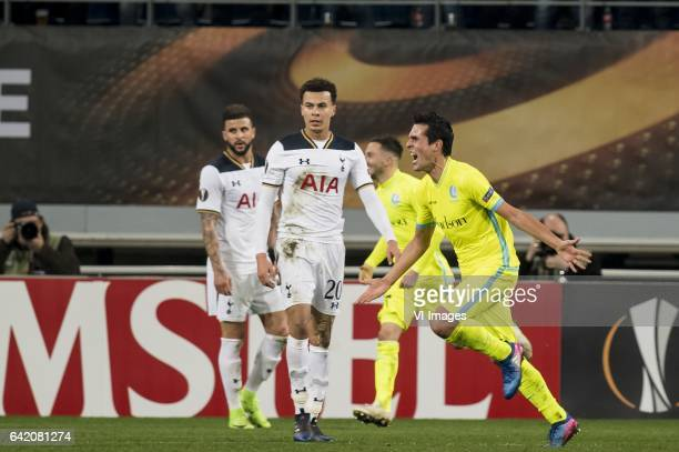 Jeremy Perbet of KAA Gent is celebrating his goalduring the UEFA Europa League round of 16 match between KAA Gent and Tottenham Hotspur FC on...