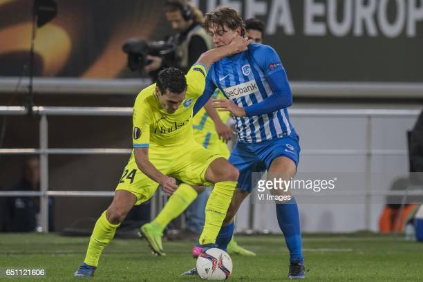Jeremy Perbet of KAA Gent Sander Berge of KRC Genkduring the UEFA Europa League round of 16 match between KAA Gent and KRC Genk on March 09 2017 at...