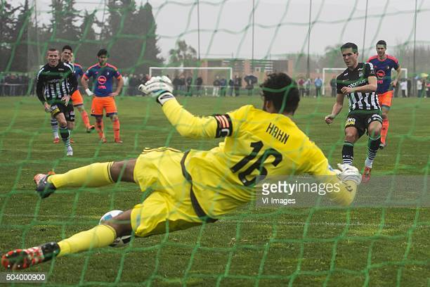 Jeremy Perbet of Sporting de Charleroi scores a penalty against goalkeeper Warner Hahn of Feyenoord during the International friendly match between...