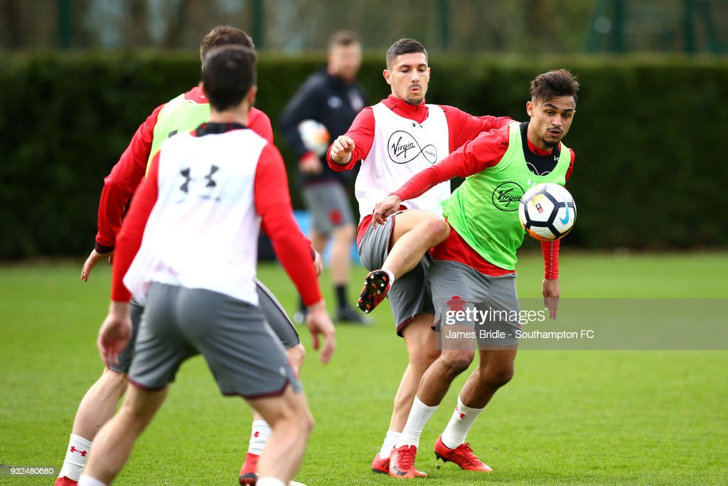 Jeremy Pied and Sofiane Boufal during a Southampton FC first team training at Staplewood Complex on March 15, 2018 in Southampton, England.