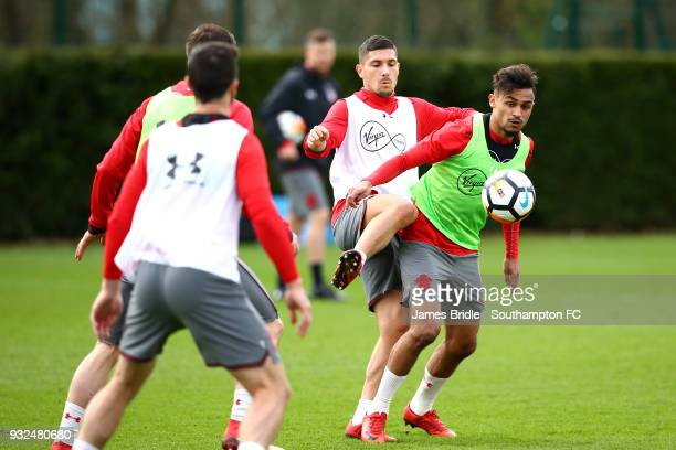 Jeremy Pied and Sofiane Boufal during a Southampton FC first team training at Staplewood Complex on March 15 2018 in Southampton England