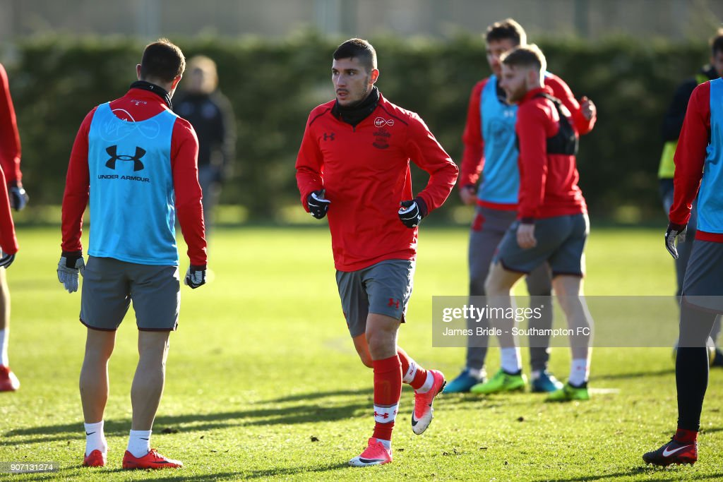 Jeremy Pied (middle) during a Southampton FC training session at Staplewood Complex on January 19, 2018 in Southampton, England.