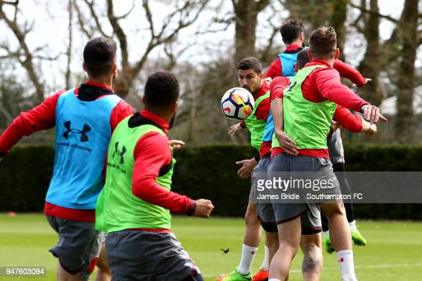 Jeremy Pied during a Southampton FC training session at Staplewood Complex on April 17 2018 in Southampton England