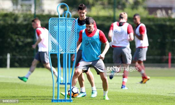 Jeremy Pied during a Southampton FC training session at the Staplewood Campus on April 20 2018 in Southampton England