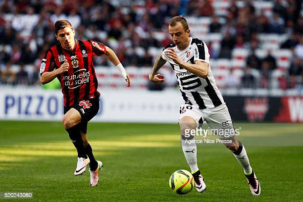 Jeremy Pied of OGC Nice and Kamil Grosicki of Stade Rennais FC during the French League 1 match between OGC Nice and Stade Rennes at Allianz Riviera...