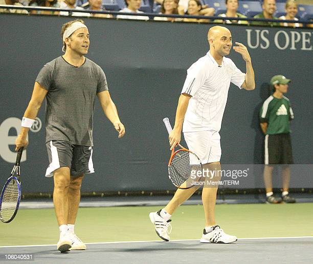 """Jeremy Piven and Andre Agassi during Gibson and Baldwin Host 2006 """"Night at the Net"""" - Game at Los Angeles Tennis Center in Westwood, California,..."""